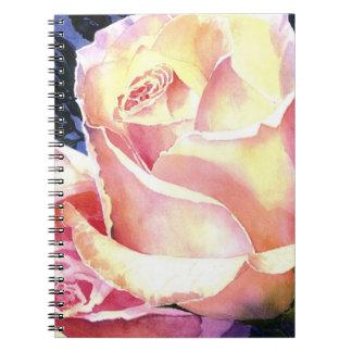 Acuarela color de rosa rosada hermosa grande cuadernos