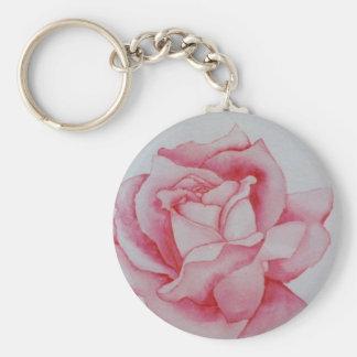Acuarela color de rosa rosada por CricketDiane Llavero Personalizado