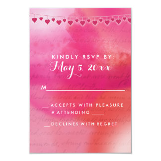 Acuarela color de rosa y poner crema invitacion personalizada
