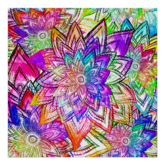 Acuarela colorida del dibujo del estampado de flor impresiones