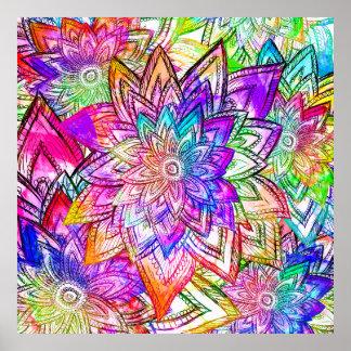 Acuarela colorida del dibujo del estampado de flor póster