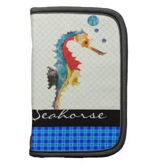 Acuarela colorida del Seahorse de la guinga azul Organizador