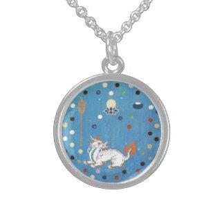 Acuarela colorida del vintage de los puntos del collares de plata esterlina