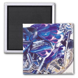"Acuarela ""de acero"" azul de la motocicleta imán"