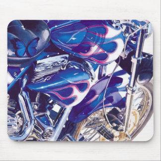 """Acuarela """"de acero"""" azul de la motocicleta tapete de raton"""