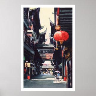 Acuarela de China del mercado de Shangai Impresiones