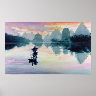 """Acuarela de China del pescador del cormorán"" Poster"