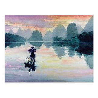 """Acuarela de China del pescador del cormorán"" Postal"