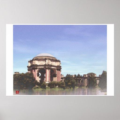 Acuarela de Digitaces de las bellas arte del Franc Poster