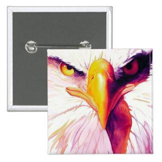 """Acuarela de """"Everette"""" Eagle calvo Pin Cuadrada 5 Cm"""
