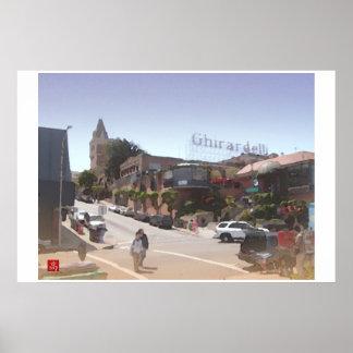 Acuarela de Ghirardelli Cuadrado-San Francisco Dig Posters
