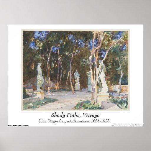 Acuarela de John Singer Sargent - paisaje Póster