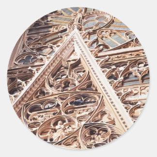 Acuarela de la arquitectura de la iglesia de la pegatina redonda