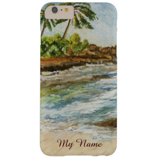 Acuarela de la bella arte de la playa de Hawaii de Funda Para iPhone 6 Plus Barely There