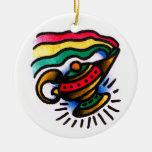 Acuarela de la botella de los genios adorno navideño redondo de cerámica