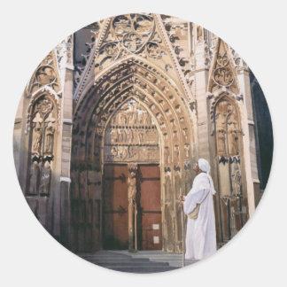 Acuarela de la catedral de Chartres del Pegatina Redonda