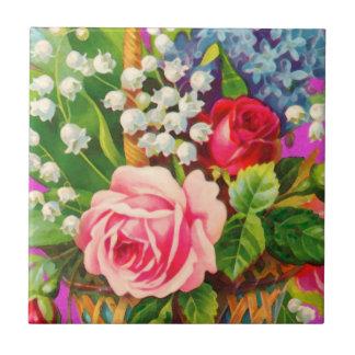 Acuarela de la cesta floral del vintage azulejo cerámica