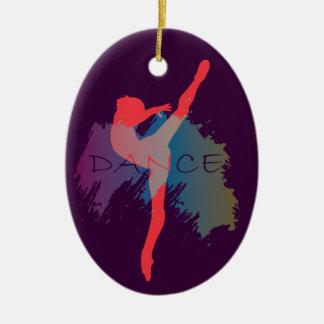 Acuarela de la danza adorno navideño ovalado de cerámica