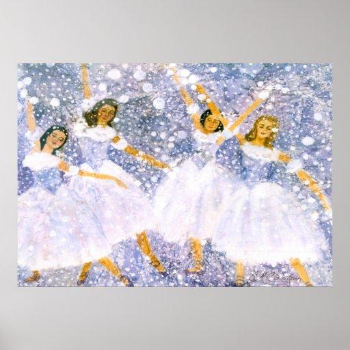 Acuarela de la danza de la bola de nieve póster