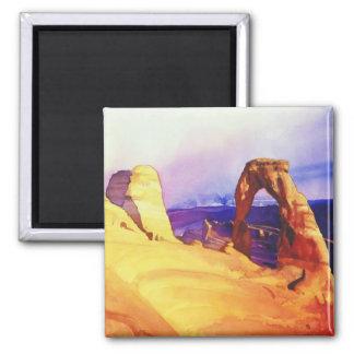 """Acuarela de la escena del desierto del """"arco delic iman para frigorífico"""