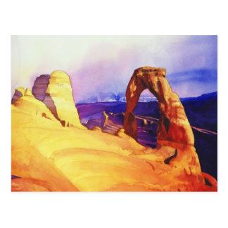 """Acuarela de la escena del desierto del """"arco postales"""