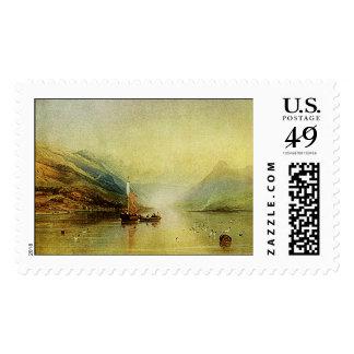 ¡Acuarela de la escena del lago que pinta el sello