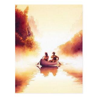 """Acuarela de la escena del río de """"Lewis y de Clark Postal"""
