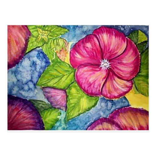 Acuarela de la fantasía del hibisco tarjeta postal