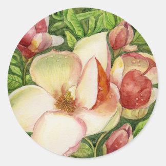 Acuarela de la flor de la magnolia pegatina redonda