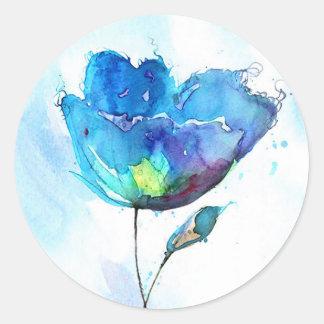Acuarela de la flor pegatina redonda