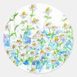 Acuarela de la hierba de los pegatinas del jardín  pegatinas redondas
