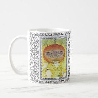 """Acuarela de la """"luz verde"""" en la taza de Coffe"""