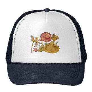 Acuarela de la mariposa, de la seta y de la flor gorros bordados