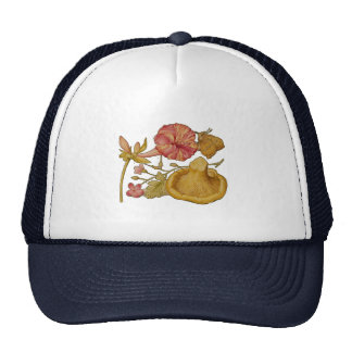 Acuarela de la mariposa, de la seta y de la flor gorro de camionero