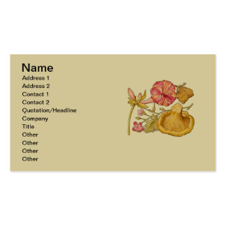 Acuarela de la mariposa, de la seta y de la flor tarjetas de visita