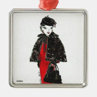 Acuarela de la moda de Matisse - cabo negro de la Adorno Navideño Cuadrado De Metal