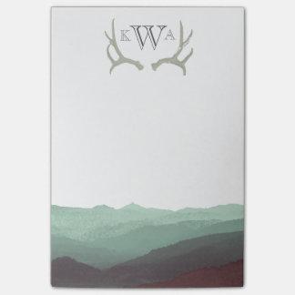 Acuarela de la montaña y monograma rústicos el   post-it® nota