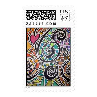 Acuarela de la original del espectro del amor timbre postal