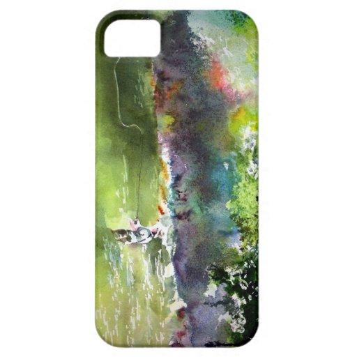 ACUARELA DE LA PESCA CON MOSCA FUNDA PARA iPhone SE/5/5s