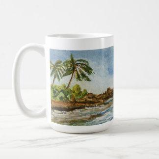 Acuarela de la playa de Hawaii de la ensenada de Taza Básica Blanca