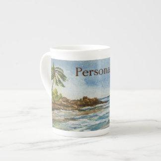 Acuarela de la playa de Hawaii de la ensenada de Taza De Porcelana