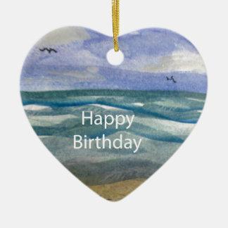 Acuarela de la playa del cumpleaños ornamento de reyes magos