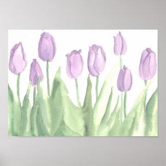 Acuarela de la primavera del jardín de flores del  póster