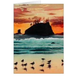 Acuarela de la puesta del sol del océano de tarjeta de felicitación