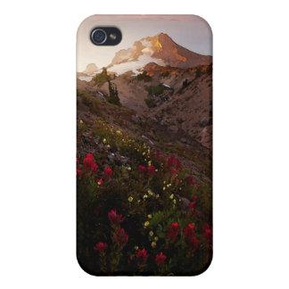 Acuarela de la puesta del sol del valle de la mont iPhone 4 carcasas