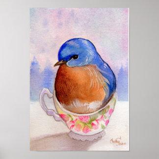 Acuarela de la taza de té del Bluebird Póster