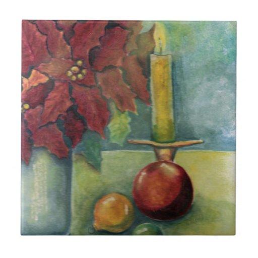 Acuarela de la vela del Poinsettia del navidad Azulejo Cuadrado Pequeño