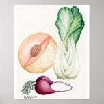 acuarela de la verdura y de la fruta poster