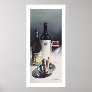 Acuarela de la vida del vino y de los cigarros a posters