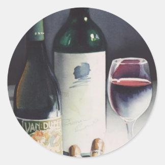 """Acuarela de la vida del """"vino y de los cigarros"""" pegatina redonda"""